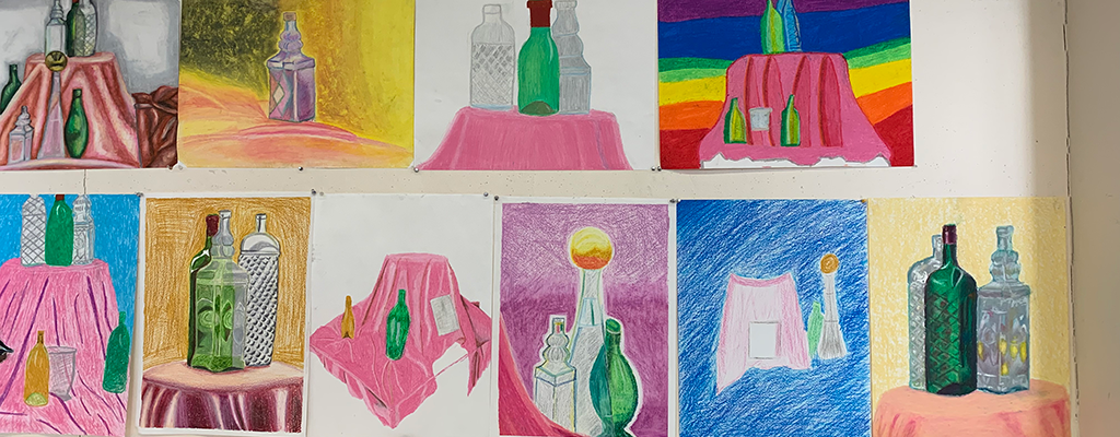 Oil Pastel still life drawings